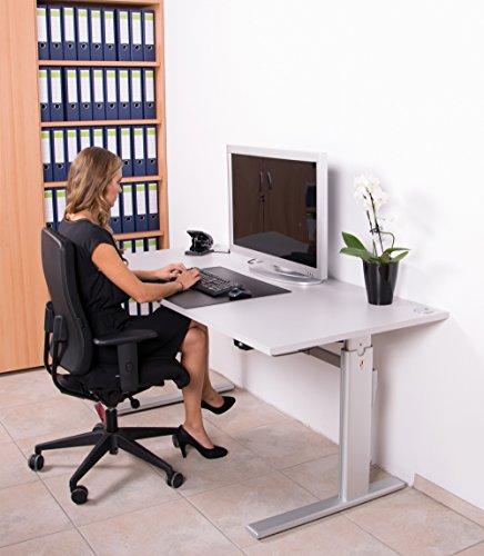 Elektrisch höhenverstellbarer Schreibtisch 160x80cm, lichtgrau - 7