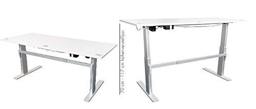 Höhenverstellbarer Schreibtisch in Lichtgrau, Elektrisch B 180 cm x T 80 cm Bürotisch Arbeitstisch - 3