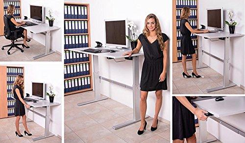 Höhenverstellbarer Schreibtisch in Lichtgrau, Elektrisch B 180 cm x T 80 cm Bürotisch Arbeitstisch - 4