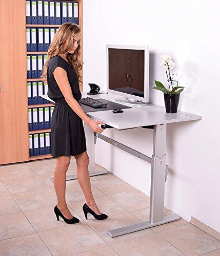 Höhenverstellbarer Schreibtisch in Lichtgrau, Elektrisch B 180 cm x T 80 cm Bürotisch Arbeitstisch - 6