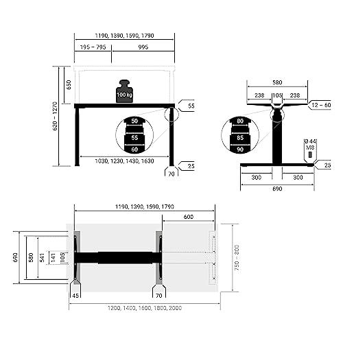 boho Premium Line – elektrisch höhenverstellbares Tischgestell - 3