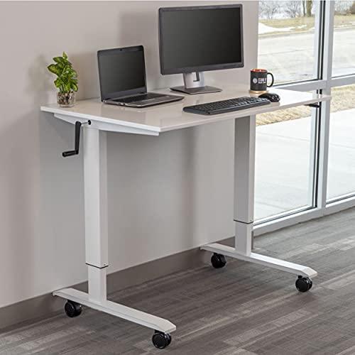 Stand Up Desk Store Höhenverstellbarer Schreibtisch (Rahmen weiß/Hochglanzdeckel weiß, Schreibtisch Länge: 120cm) - 2