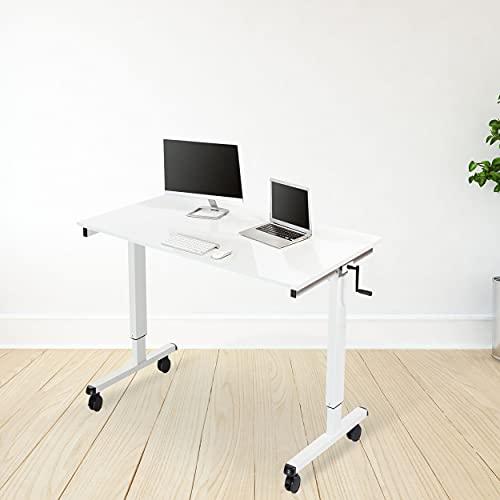 Stand Up Desk Store Höhenverstellbarer Schreibtisch (Rahmen weiß/Hochglanzdeckel weiß, Schreibtisch Länge: 120cm) - 3