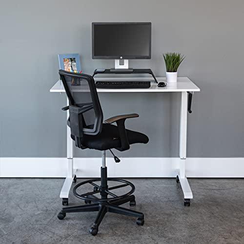 Stand Up Desk Store Höhenverstellbarer Schreibtisch (Rahmen weiß/Hochglanzdeckel weiß, Schreibtisch Länge: 120cm) - 4