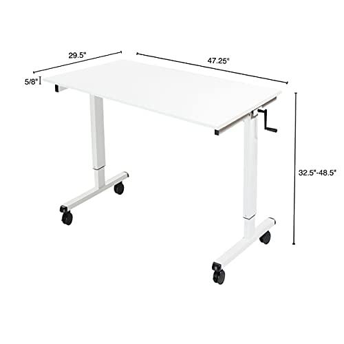 Stand Up Desk Store Höhenverstellbarer Schreibtisch (Rahmen weiß/Hochglanzdeckel weiß, Schreibtisch Länge: 120cm) - 5